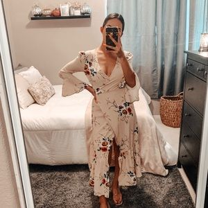 Floral and Cream Wrap Dress